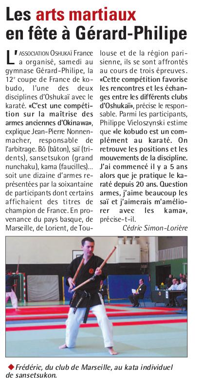 Article de journal sur la Coupe de France de Kobudo