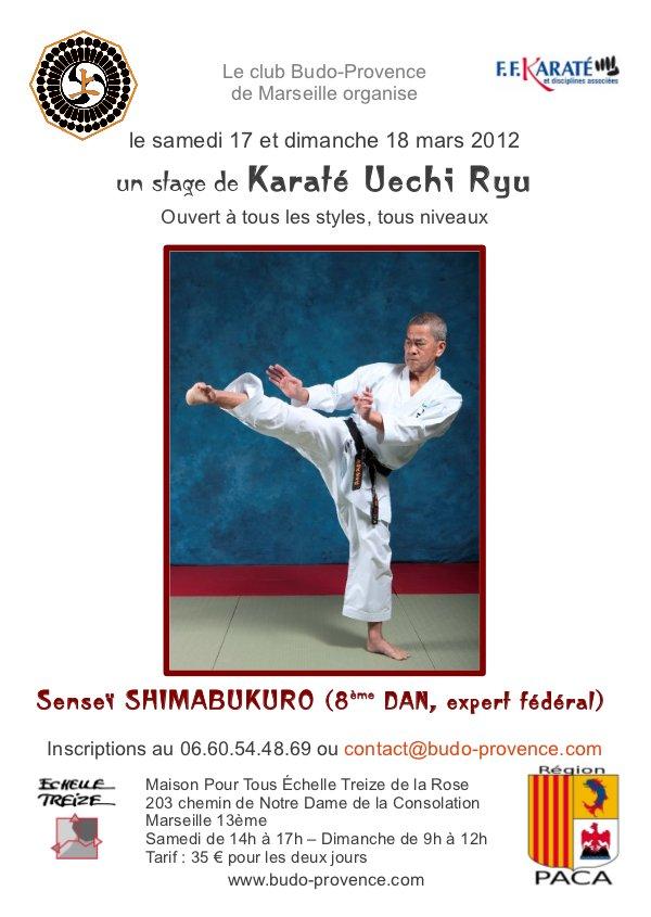 Stage de Karaté Uechi Ryu avec Maître Shimabukuro – Marseille – 17 et 18 mars 2012